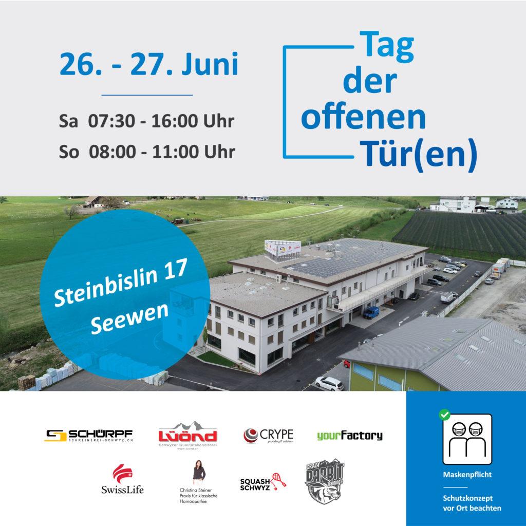 Flyer für den Tag der offenen Tür(en) der Firmen vom Bürogebäude Steinbislin 17 in 6423 Seewen SZ.