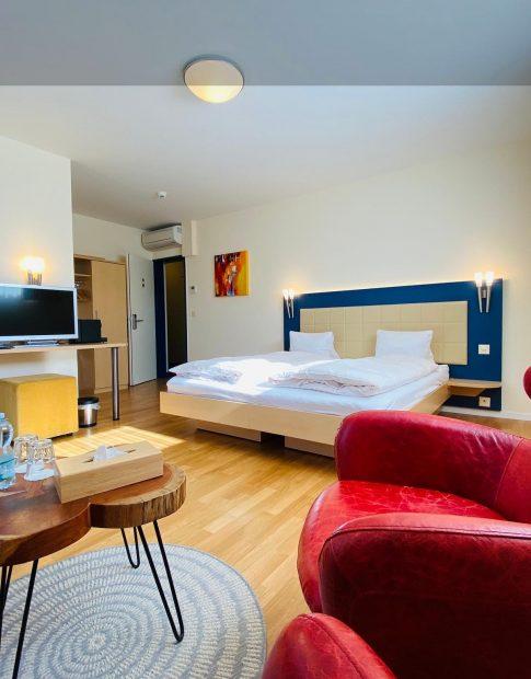 Ein Doppelzimmer im Hotel Felmis